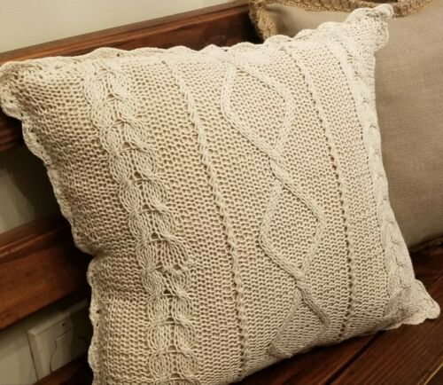 Rustic Farmhouse Beige Cable Knit Pillow Cover 16 x 16 Decor