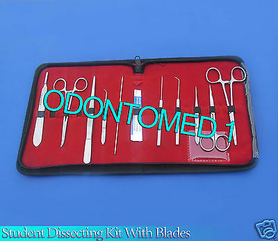 Set Of 10 Pc Student Dissecting Dissection Medical Instruments Kit 5 Blades 21