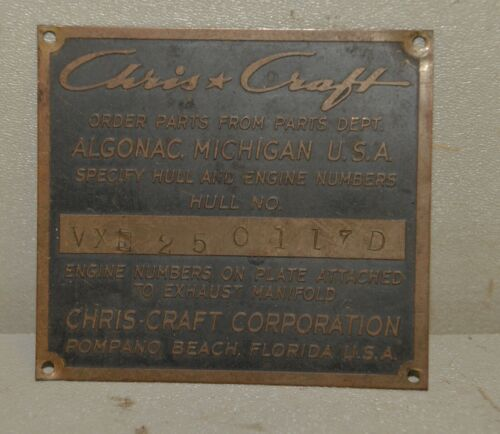 Vintage Chris Craft Pompano Beach FL brass plaque plate sign collectible boating