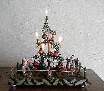 Weihnachtsberg Weihnachtsbaum Christbaum elektrisch mit Zwergen Zwerg uralt