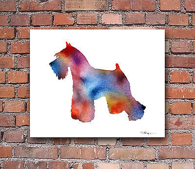 MINIATURE SCHNAUZER Contemporary Watercolor Abstract ART Print by Artist DJR