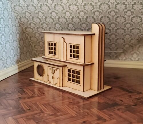 Dollhouse Miniature 1:144 Scale KIT House Art Deco Style With Fireplace