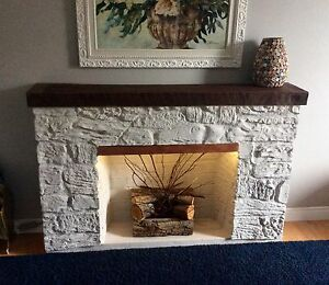 Decorative mantel fireplace with lights