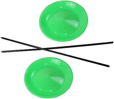 10 Jonglierteller in der Farbe Neongrün incl. 10 Kunststoffstäben