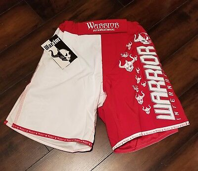 Mens Warrior Mma Fight Shorts Brand Red White New With Tags