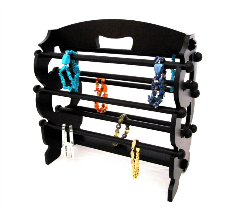 Black Wood 8 Bar Bracelet And Watch Display Rack