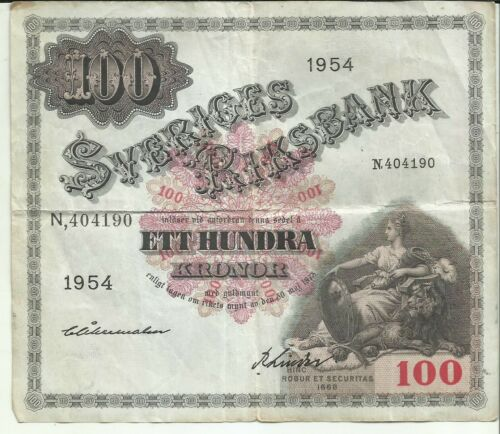 SWEDEN 100 KRONER 1954  P 48. VERY RARE. 8RW 25OCT