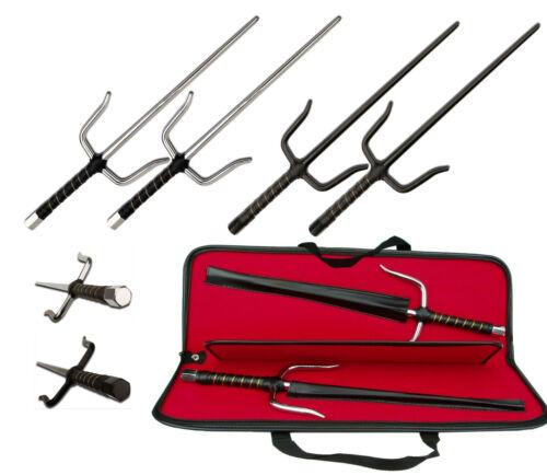 Metal Sai Martial Arts Weapon, Chrome or Black (Pair) - Add Briefcase