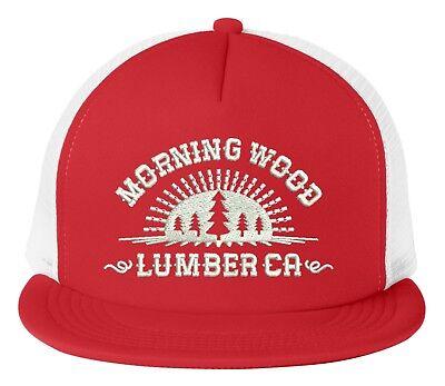 (Morning Wood Lumber Co. Adjustable Snap Back Trucker Mesh Hat Cap Flat Bill)