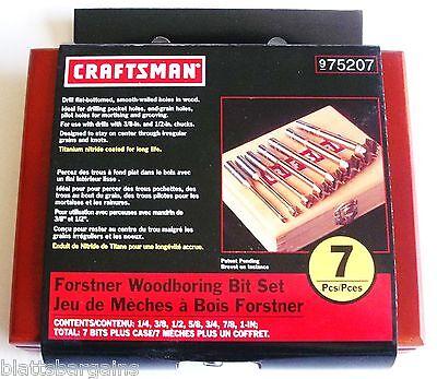 CRAFTSMAN 7pc TITANIUM FORSTNER WOOD BORING DRILL BIT SET 975207 OR (Forstner Wood Boring Bit)