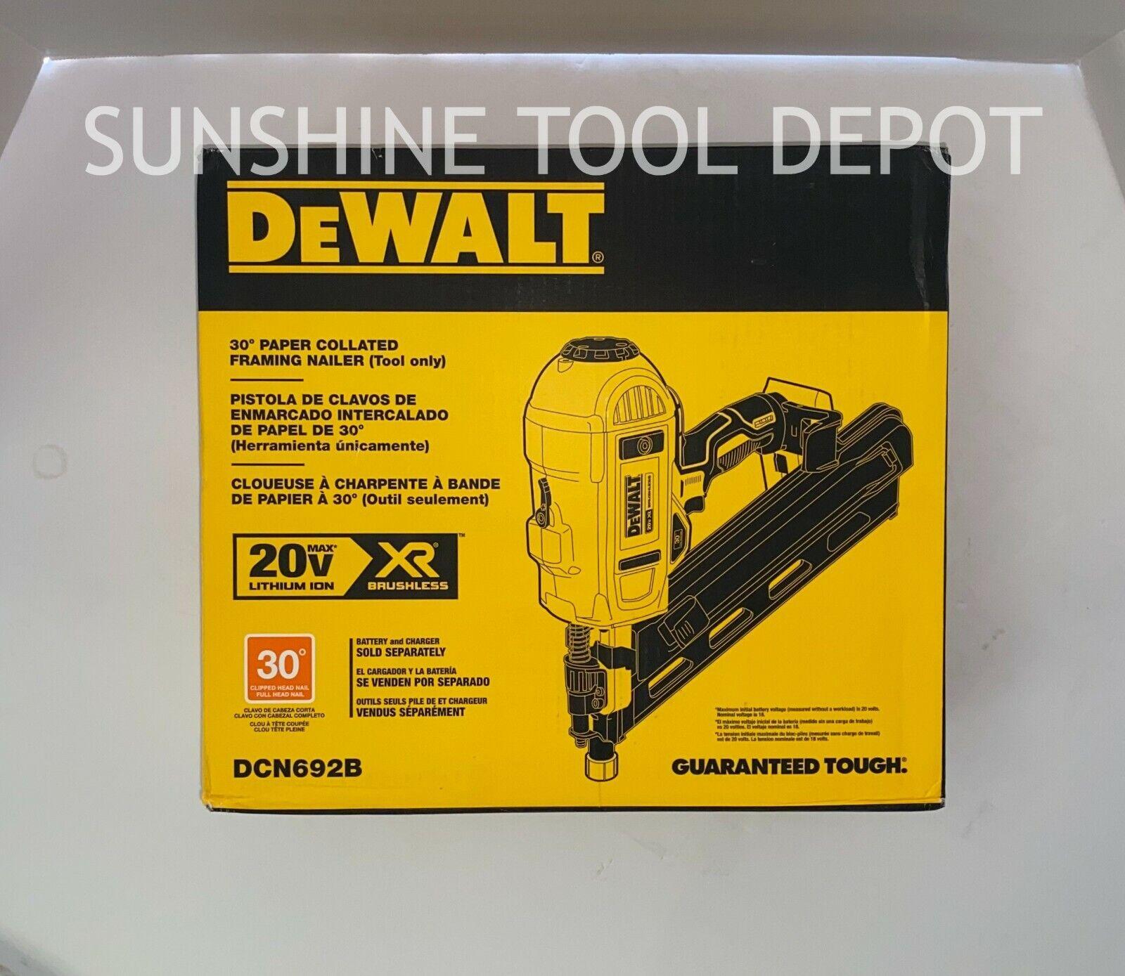 DeWalt DCN692B 20V MAX Cordless 30° Paper Collated Framing Nailer