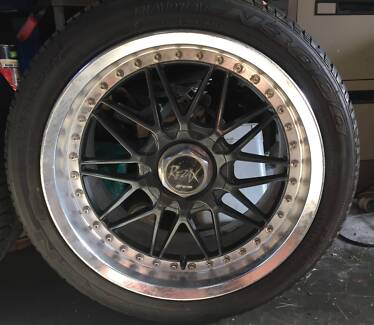 4x REZAX WORK WHEELS and Tyres SUIT 5 STUD DRIFT,  RACE OR SHOW