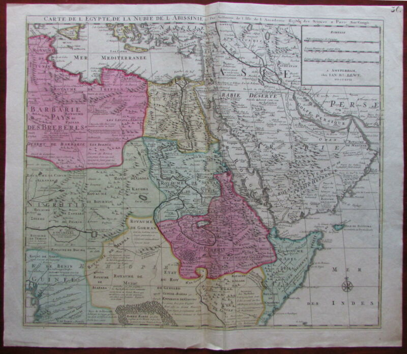 Arabia interior East Africa Nile source 1792 rare Elwe Delisle large map