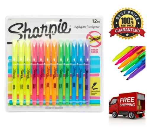 Sharpie Pocket Highlighters 12 Count Assorted Markers Chisel Tip Smear Guard Ink