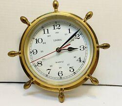 Brass Nautical Ships Wheel Quartz Wall Clock by Linden