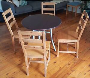 Small table + 4 wooden IKEA chairs Bondi Eastern Suburbs Preview