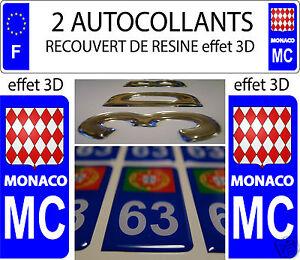 2 stickers recouvert de resine mc principaute de monaco plaque immatriculation ebay. Black Bedroom Furniture Sets. Home Design Ideas