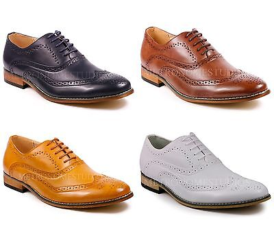 Perforated Wing Tip - Metrocharm MC102 Men's Wing Tip Perforated Lace Up Oxford Dress Shoes
