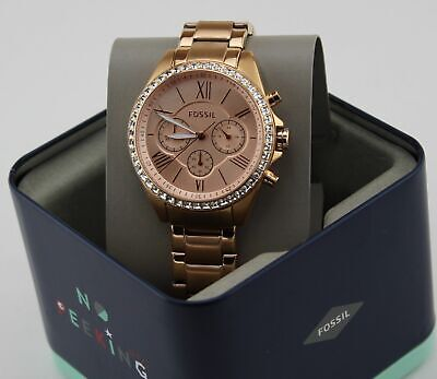 NEW AUTHENTIC FOSSIL MODERN COURIER ROSE GOLD CRYSTALS GLITZ WOMENS BQ1774 WATCH