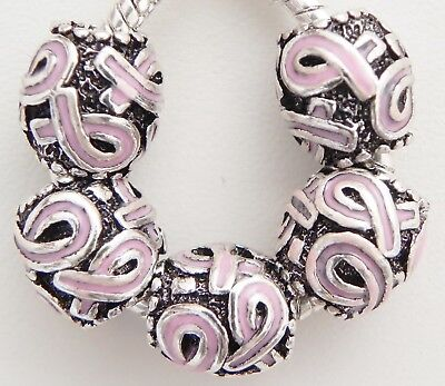 Pink Awareness Ribbon (5 Pink Awareness Ribbon Spacers 11 * 12 mm & 5 mm Hole Fit European Jewelry)