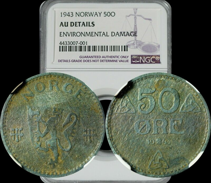 1943 Norway 50 Ore NGC AU Details Environmental Damage Toned Gem