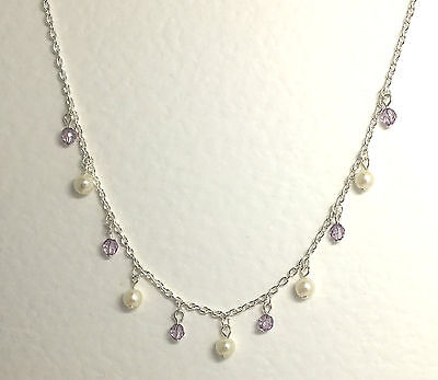 """PRETTY SILVER PLATED NECKLACE WITH PEARLS & LILAC PURPLE CRYSTAL CHARMS 16"""" 40CM"""