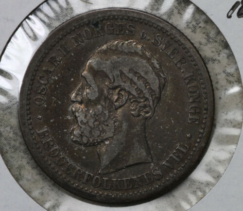Nice VF to XF Norway 1877 1 Krone Silver Coin!!