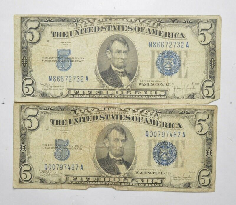 Lot 2 1934 $5.00 SILVER Certificate Blue Seal US Notes Currency Collection