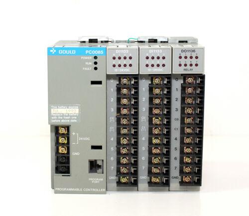 GOULD AEG MODICON PLC PC-0085-101 PROGRAMMABLE CONTROLLER + 3 UNITS