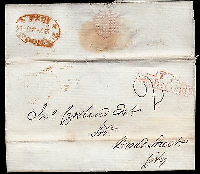 1825 London entire with handstruck 2 and T.P. LambsCondSt boxed in red
