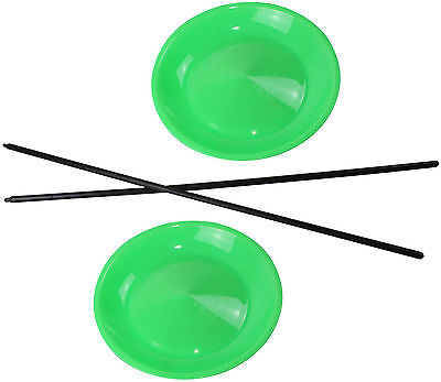 5 Jonglierteller in der Farbe Neongrün incl. 5 Kunststoffstäben