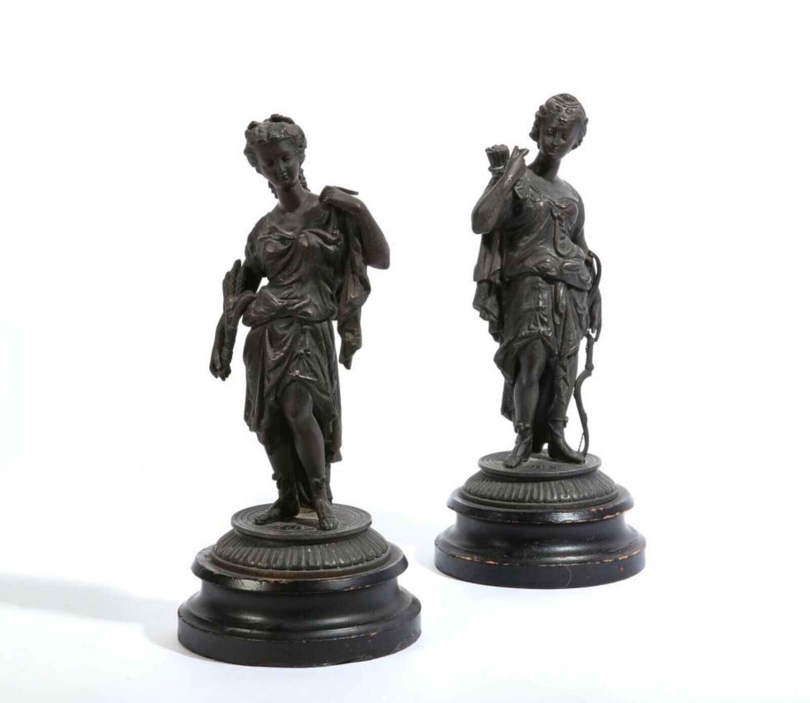 Late 19th Century Pair of Large Grand Tour Patinated MetalFemale Figures