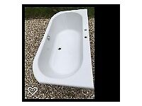 Bathroom Suite: Bath, Basins (3), Toilet with Cistern, Quadrant Shower Tray & Screen including Taps