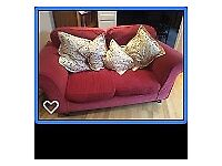 Claret coloured two seater sofa, washable covers, excellent condition