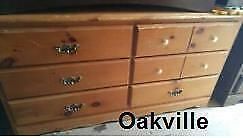 RUSTIC WOOD DRESSER  Oakville NEEDS TLC Long and low Solid Wood Chest of Drawers Light Colour Pine