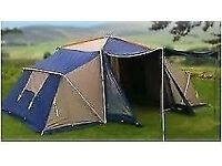 Family Tent Suncamp aps 3004, Frame tent with 2 spacious sleeping pods, 10' sq living area & awning