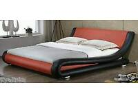 Red and black leather look double bed (NO SLATS)