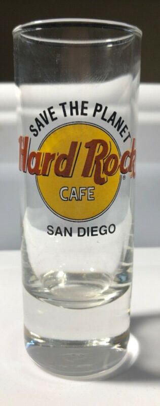 Hard Rock Cafe San Diego Save the Planet Classic Logo Tall Double Shot Glass