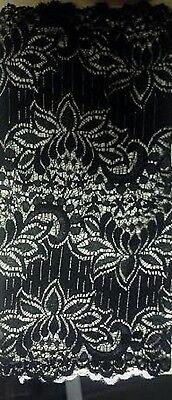 Black Stretch Lace Trim - 1 yard  Black double scalloped wide stretch lace trim 12