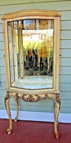 "CURIO china cabinet VITRINE serpentine curve glass French Style vtg 52"" x 25"" w"