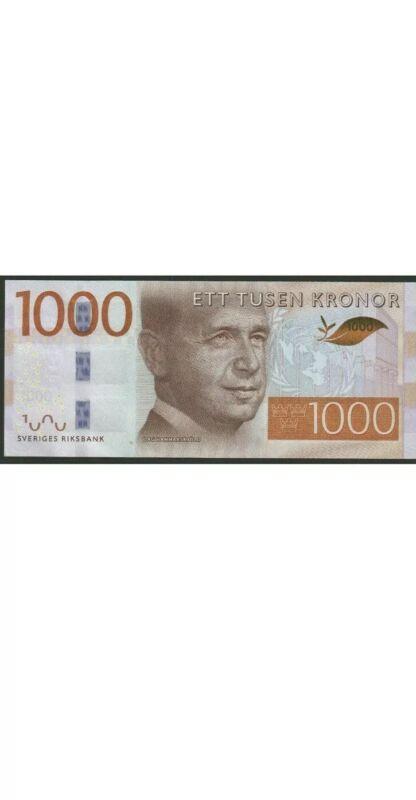 Sweden 1000 Kronor Banknote. 1000 Swedish Kroner Single Cir Bill. (Banknotes) Dt