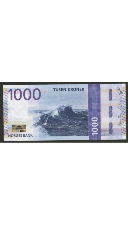 Norway 1000 Kroner Banknote. 2019 Unc Norwegian 1000 Kronor UnCirculated Note.