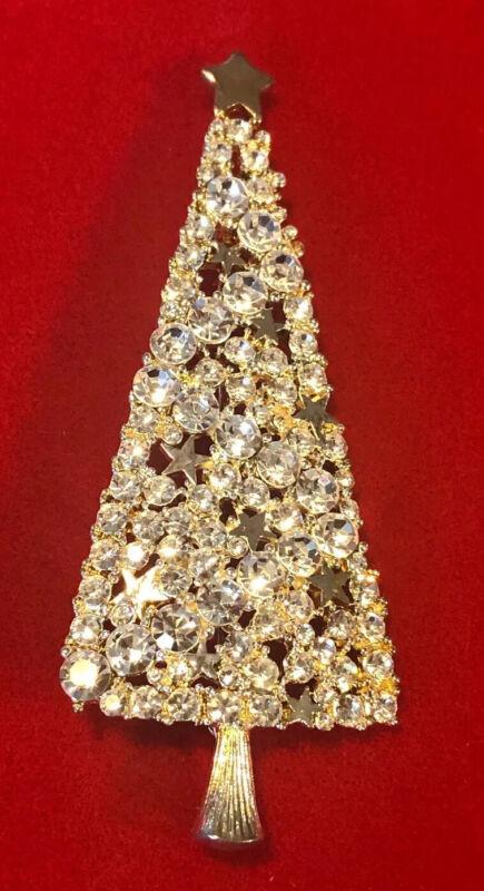 Sparkly Vintage Tall EISENBERG ICE Christmas Tree Brooch Crystal Rhinestones