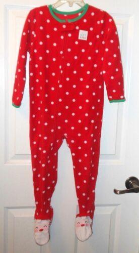 Just One You 3T Holiday footie fleece sleeper,red,white polkadot,Santa feet