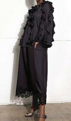HUISHAN ZHANG Mabyn Black Long Sleeve Ruffle Top - Medium £1025