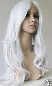 New-Long-Wavy-Silver-white-cosplay-party-hair-Wig-wigs-free-gift