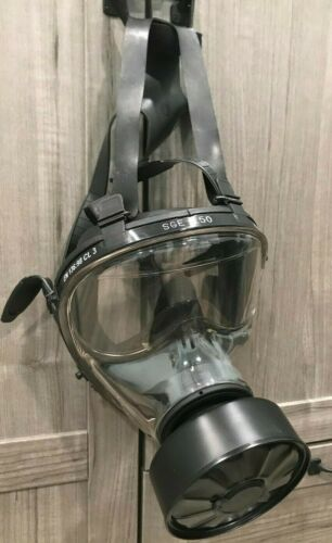 TECNOPRO Safety SGE 150 Gas Mask NEVER WORN with 1 NEW KYNG CHARCOAL Filter