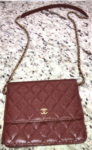 Chanel small bag quiltted red burdundy 5.5″ x 6.5″ gold chain purse crossbody Cc