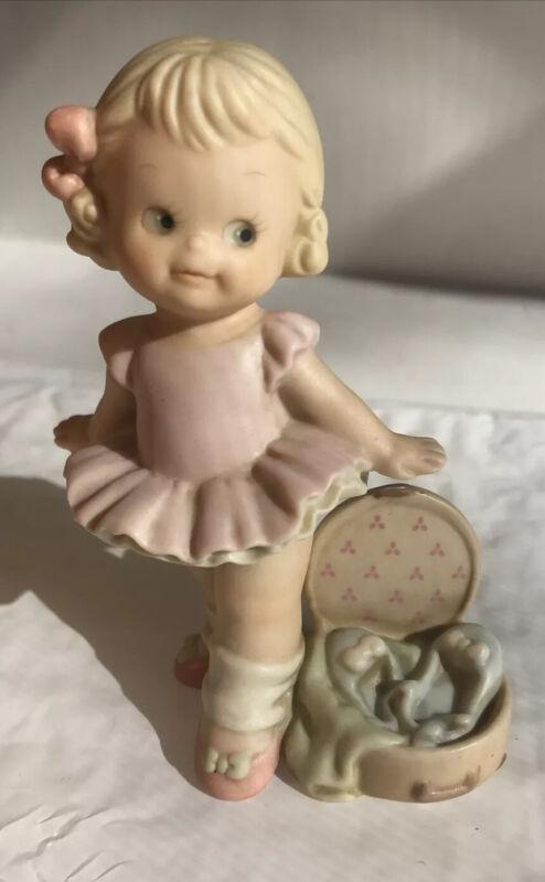 Enesco 1994 Ballerina Memories of Yesterday Figurine pink dress blonde hair bow