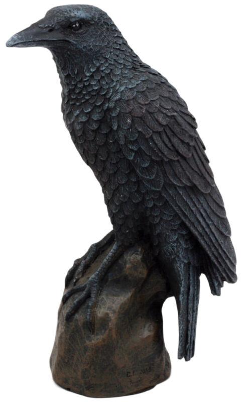 "Ebros Gothic Raven Statue Crow Scavenger Bird Perching On Rock Figurine 6""H"